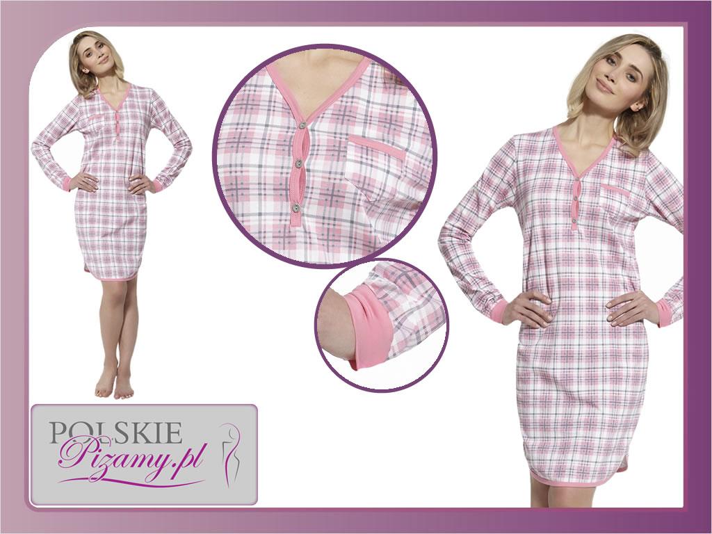 Koszula nocna DEBI, różowa krata, Cornette