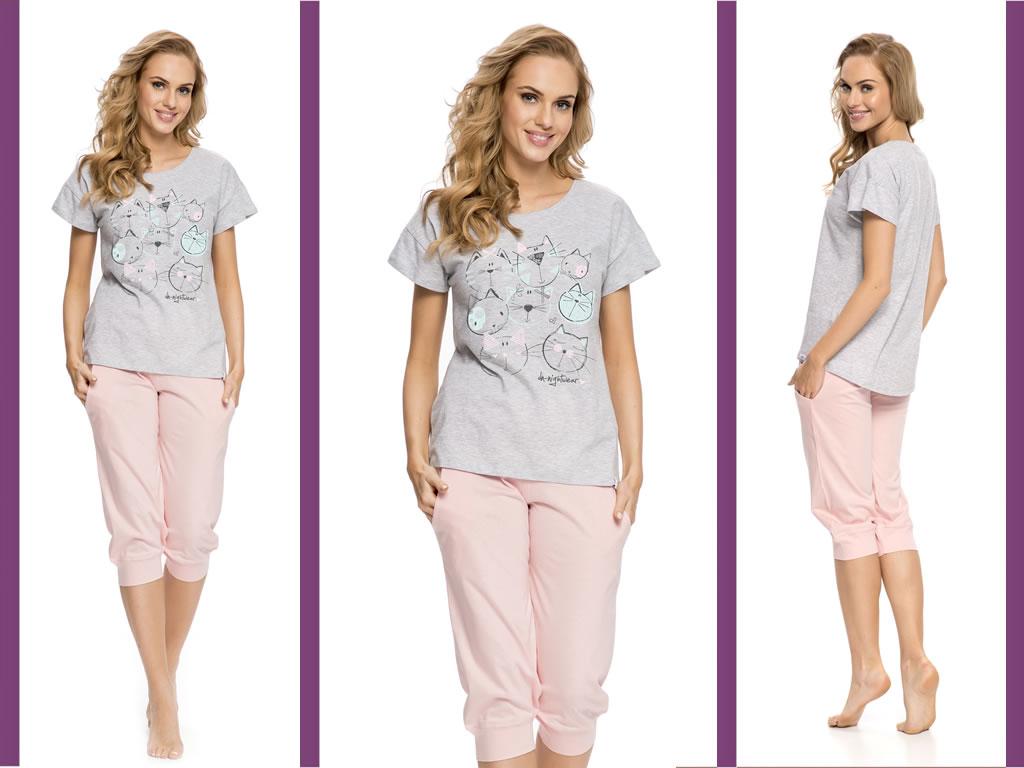 Piżama damska KITTY szary/róż